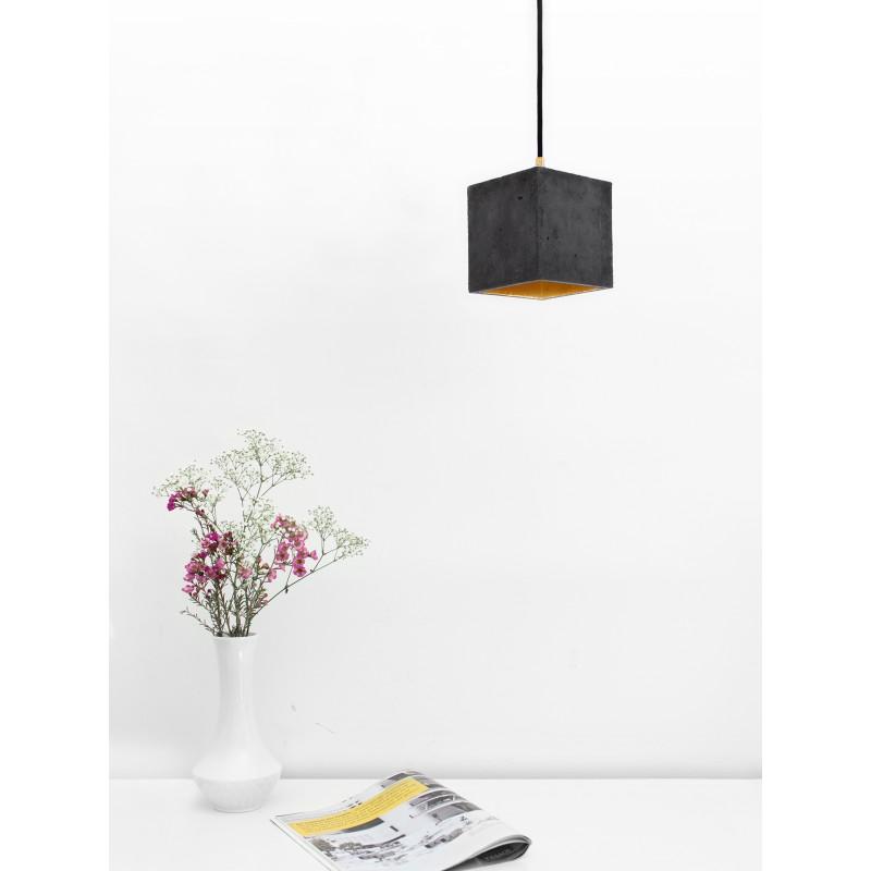 GANTlights - Beton Hängelampe [B1] dark Lampe Gold minimalistisch