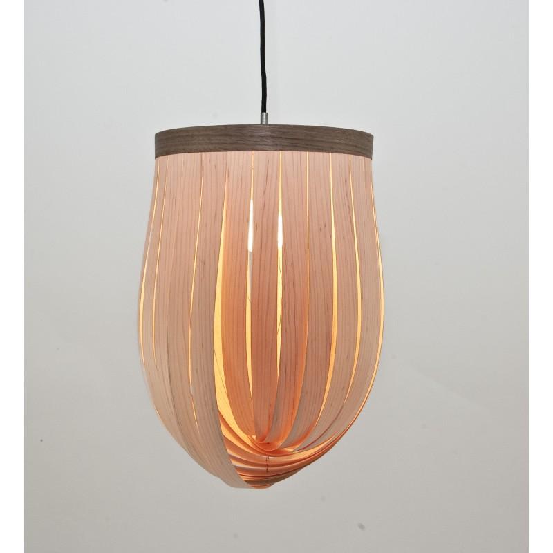 LJ LAMPS epsilon - verstellbare Pendelleuchte aus Holz mit Textilkabel