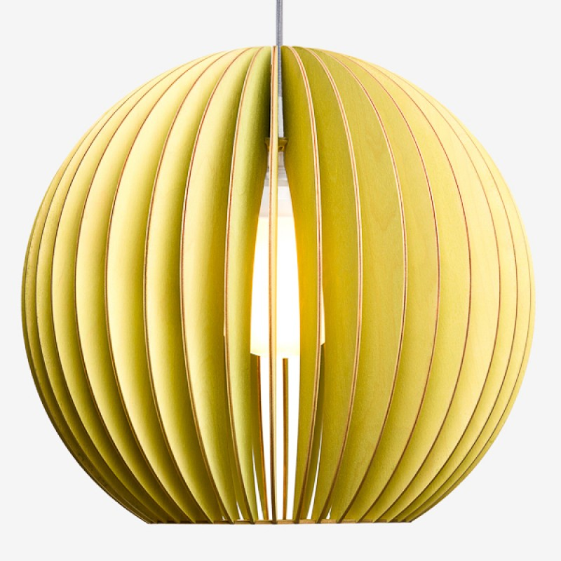 AION XL Pendelleuchte aus Holz (gelb)