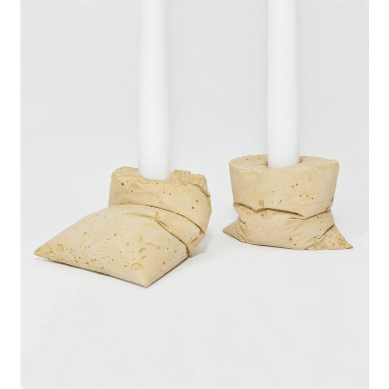 LJ LAMPS kappa gelb, zwei Kerzenständer aus Beton