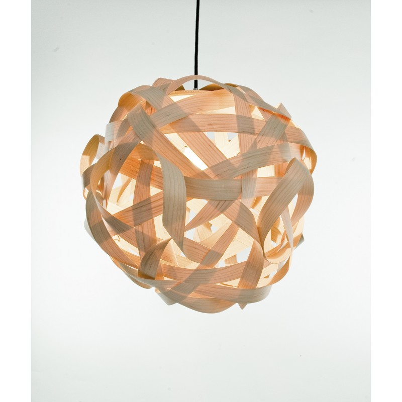 LJ LAMPS sigma - moderne Pendelleuchte aus Holz mit Textilkabel