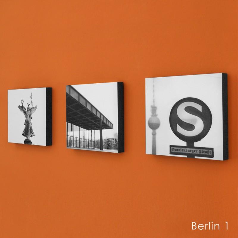 COGNOSCO Wandbild/ Holzblock 3er Set Berlin-Fotografie
