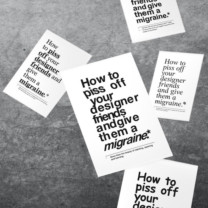 The True Type Set von 5 typografischen Postkarten »How to piss off your designer friends and give them a migraine«