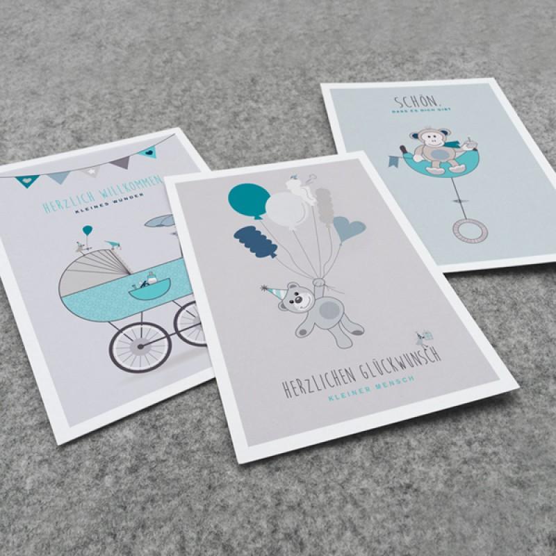 kleiner mensch Kartenset – 3 Stück (Junge)