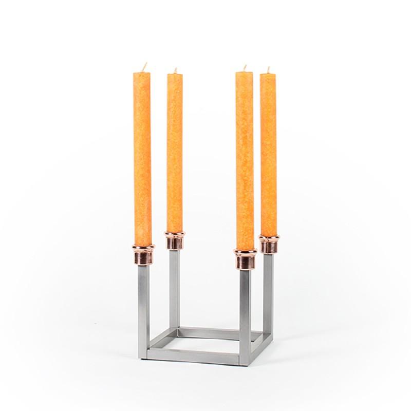 Kerzenständer WACHSAUFSEHER Edelstahl/Kupfer