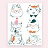 Notietzblock Temporäre Tattoos Katzen Set #2