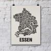 Buchstabenort Essen Stadtteile-Poster Typografie