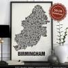 Buchstabenort Birmingham Stadtteile-Poster Typografie