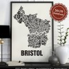 Buchstabenort Bristol Stadtteile-Poster Typografie