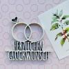 NOGALLERY Eheringe Herzlichen Glückwunsch - Deko Schriftzug Holz