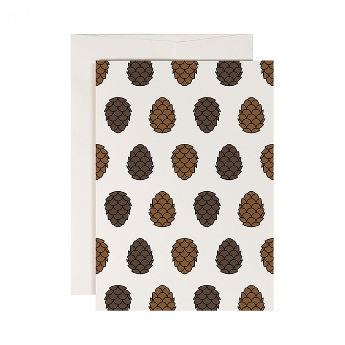 redfries pine cone – Klappkarte DIN A6 mit Umschlag