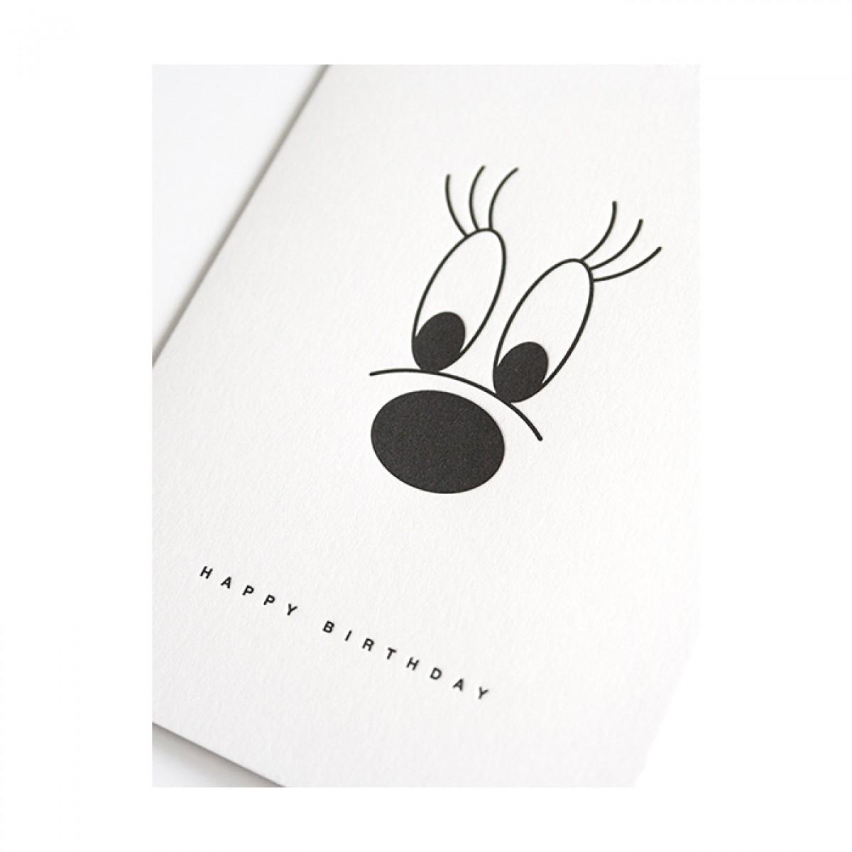 big lashes –Letterpress-Klappkarte DIN A6 mit Umschlag
