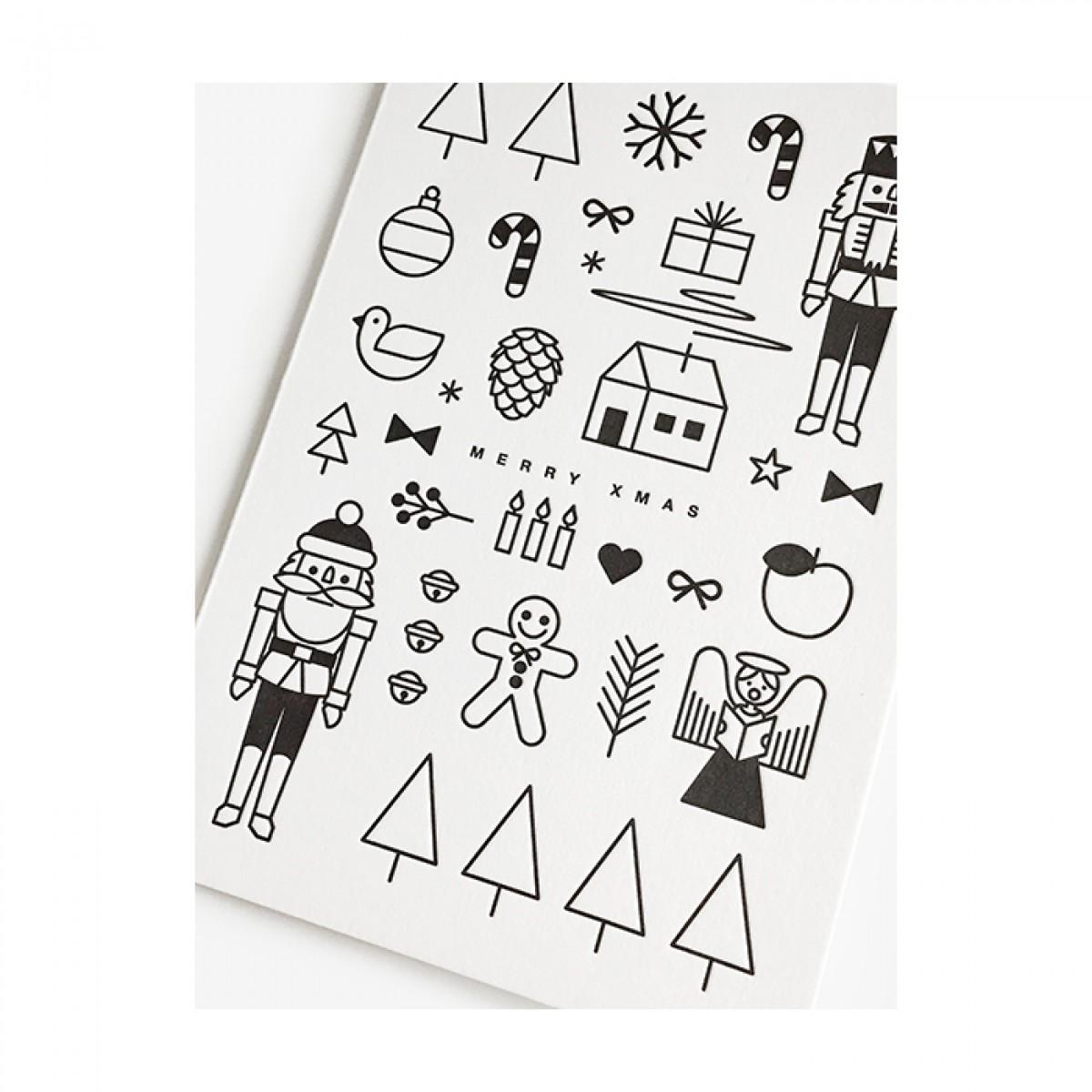 redfries black xmas mashup –Letterpress-Klappkarte DIN A6 mit Umschlag