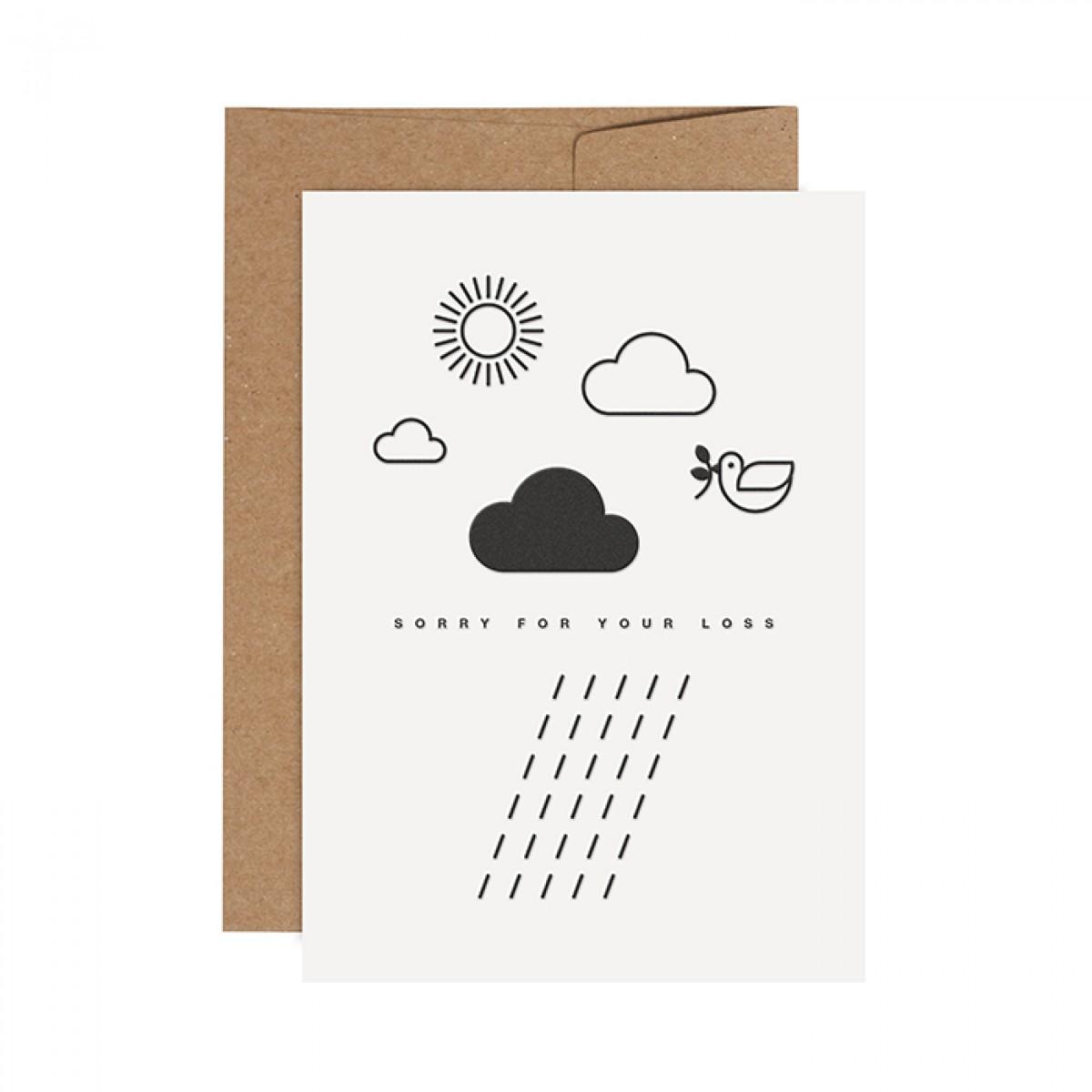 redfries rainy days – Letterpress-Klappkarte DIN A6 mit Umschlag
