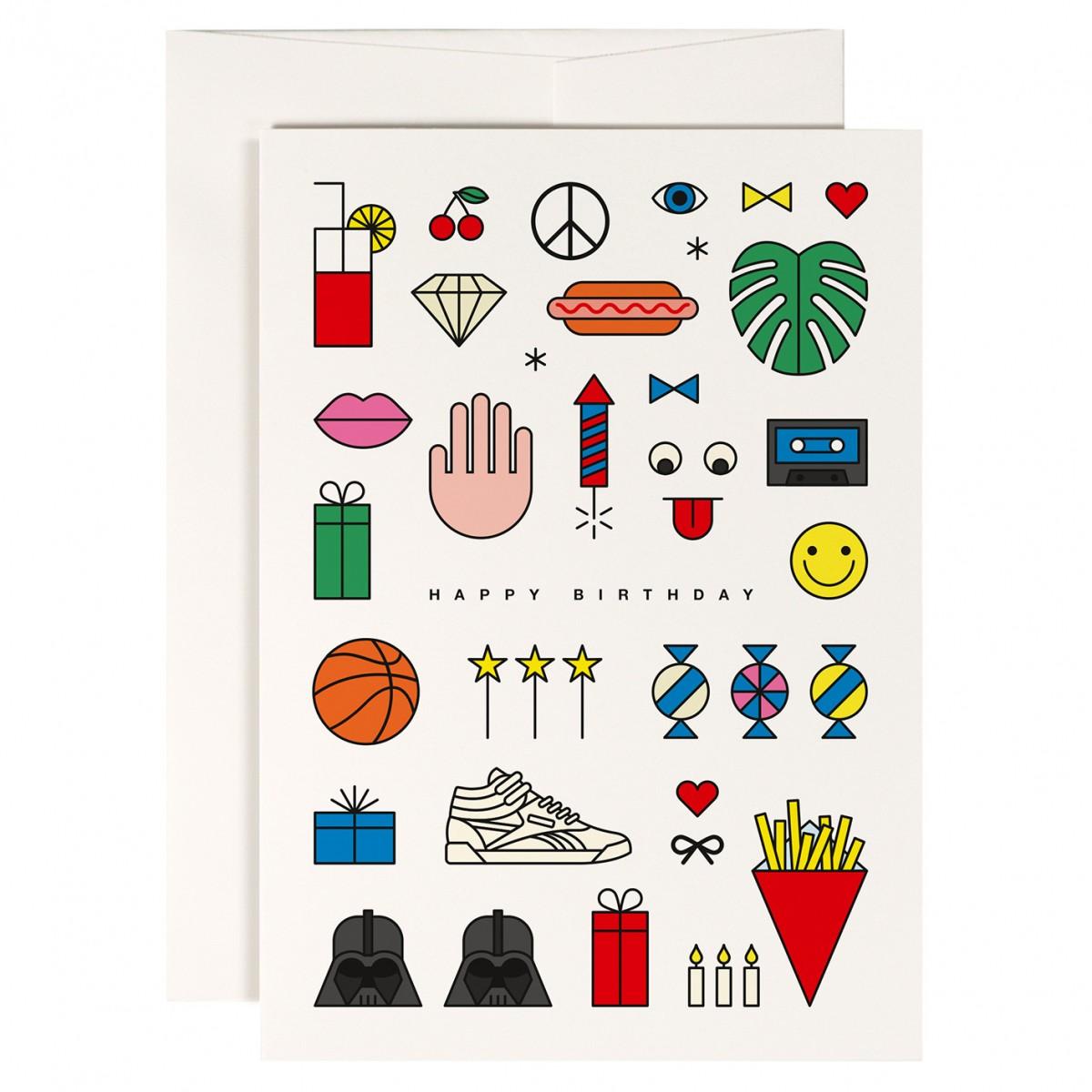redfries set fun society – Set mit 4 Klappkarten DIN A6 mit Umschlag