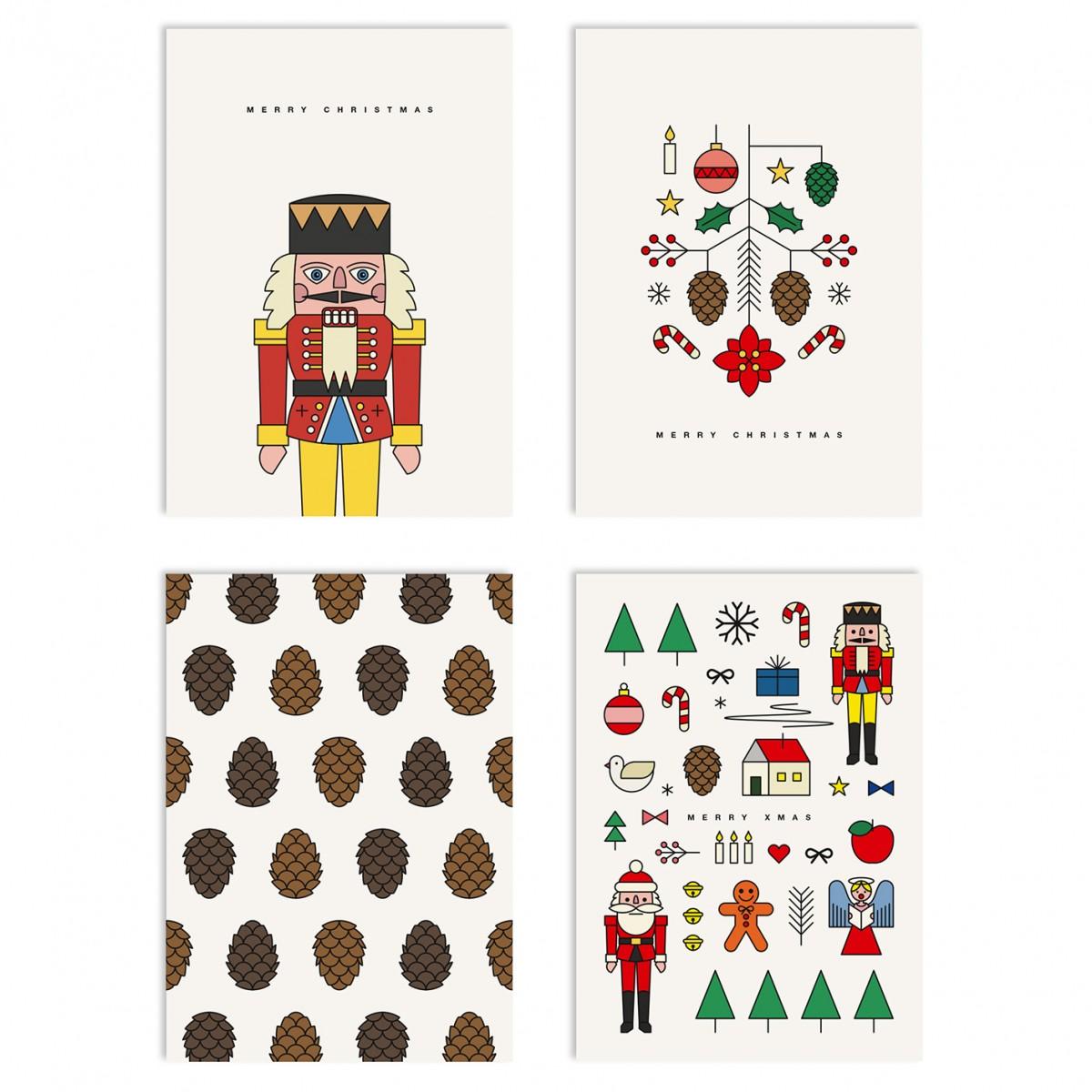 redfries set xmas2 – Set mit 4 Klappkarten DIN A6 mit Umschlag