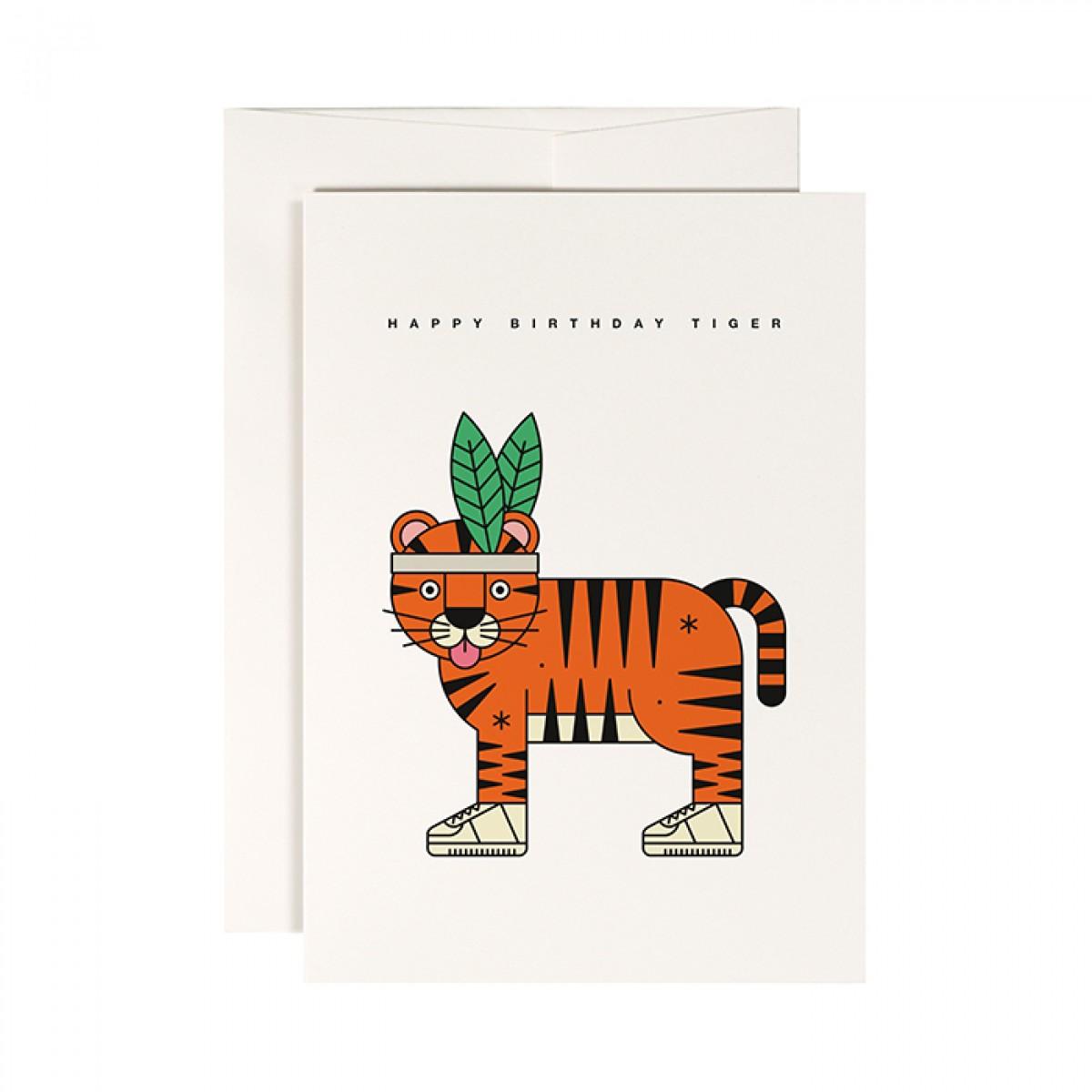 redfries high five tiger – Klappkarte DIN A6 mit Umschlag