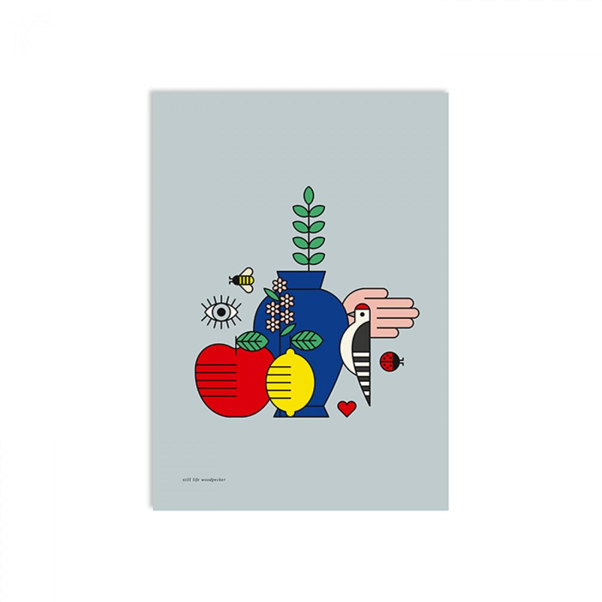 redfries still life woodpecker a3 – Kunstdruck DIN A3