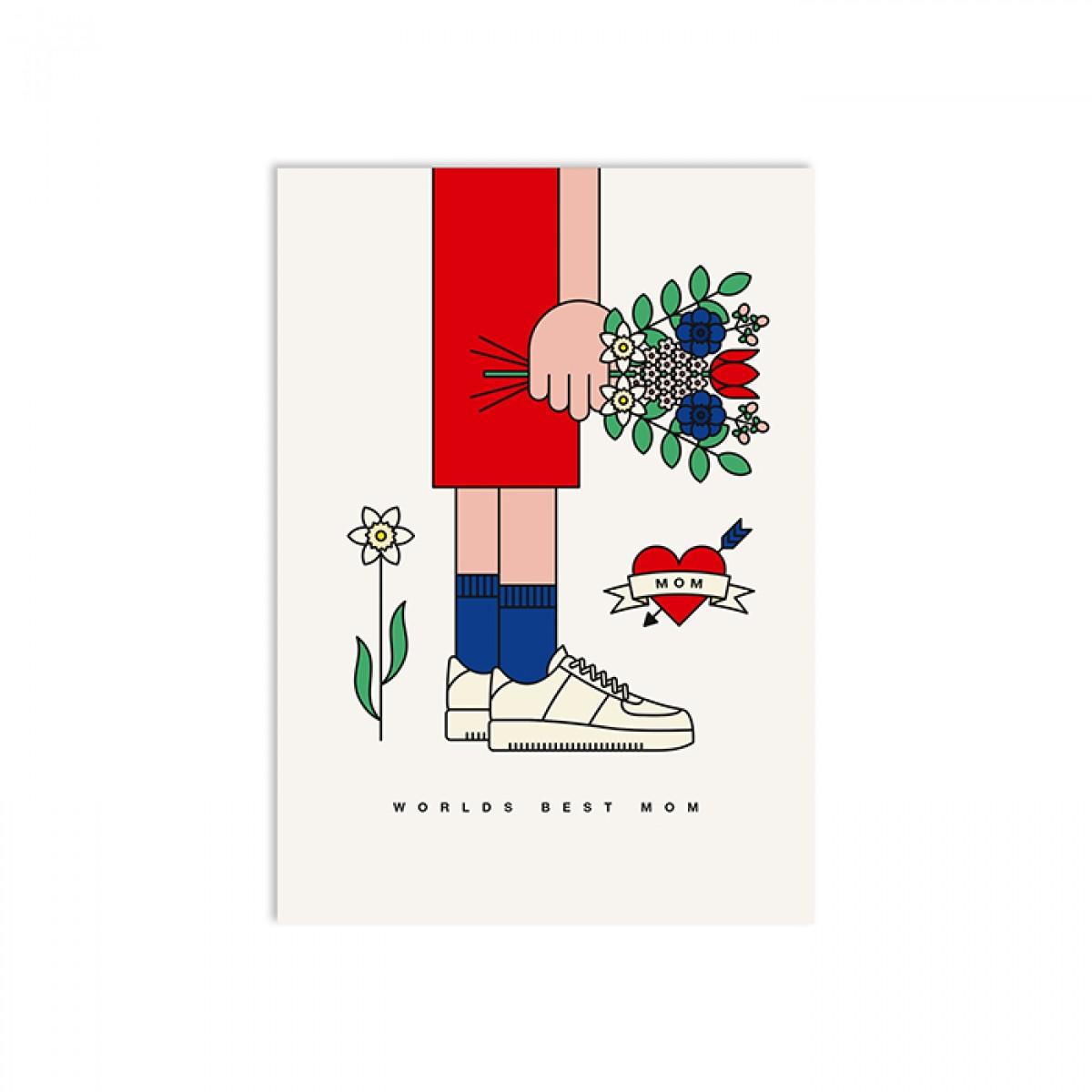 redfries worlds best mom – Postkarte DIN A6