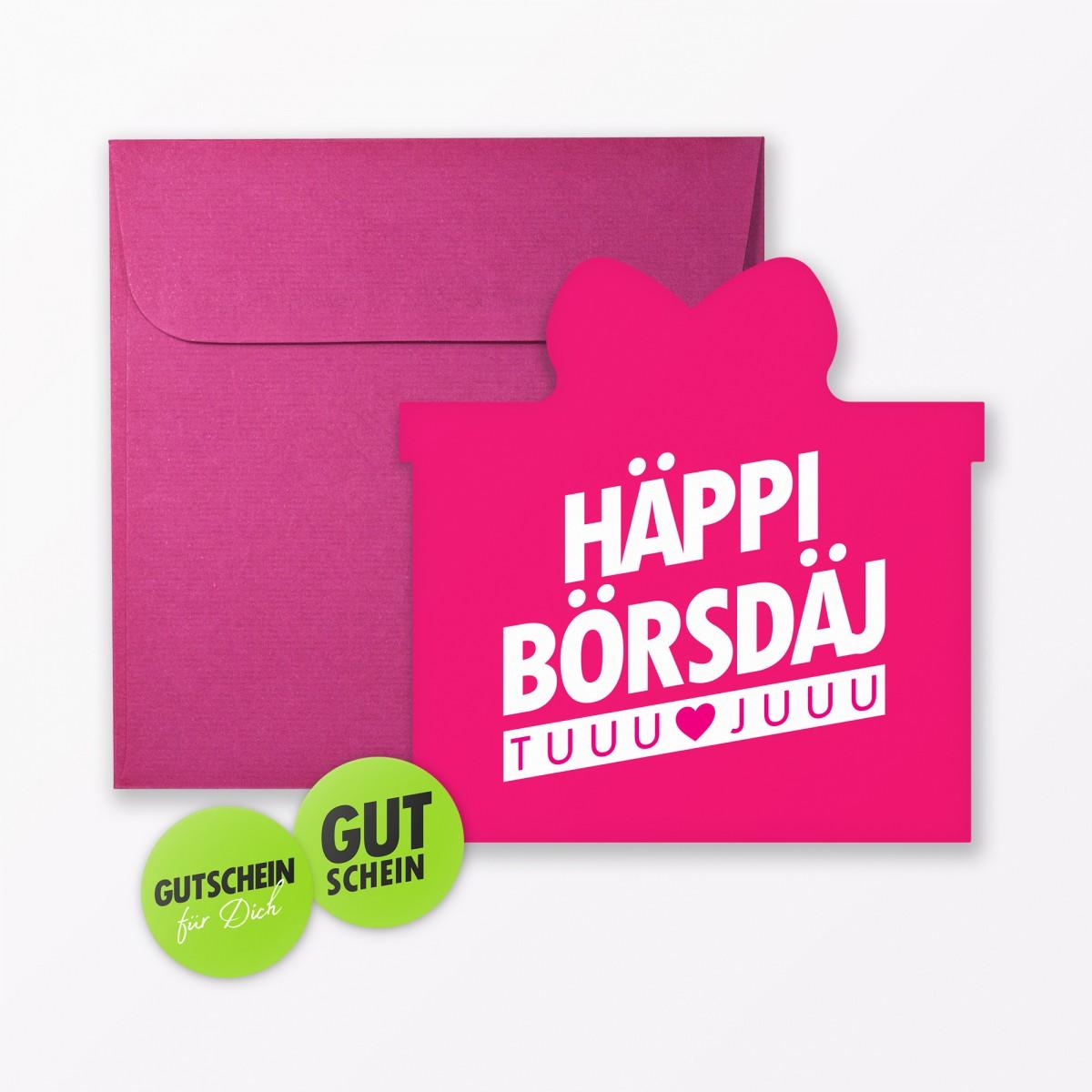 """TYPOP 8-teiliges Set Design GEBURTSTAGSKARTEN """"Häppi Börsdäj"""" in Geschenkform inkl. 2 Umschläge + 4 Sticker"""