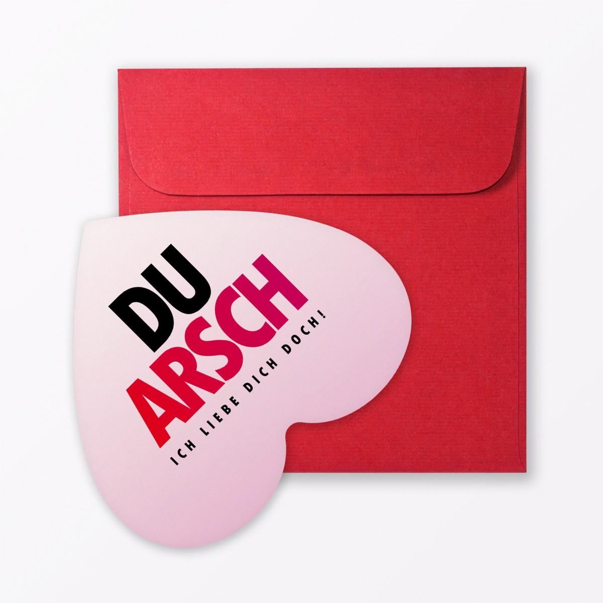 """TYPOP Postkarte """"Du Arsch"""" in Herzform inkl. Umschlag"""