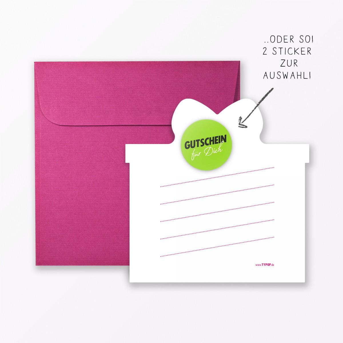 """TYPOP 4-teiliges Set Design GEBURTSTAGSKARTE """"Häppi Börsdäj"""" Pink in Geschenkform inkl. Umschlag + 2 Sticker"""