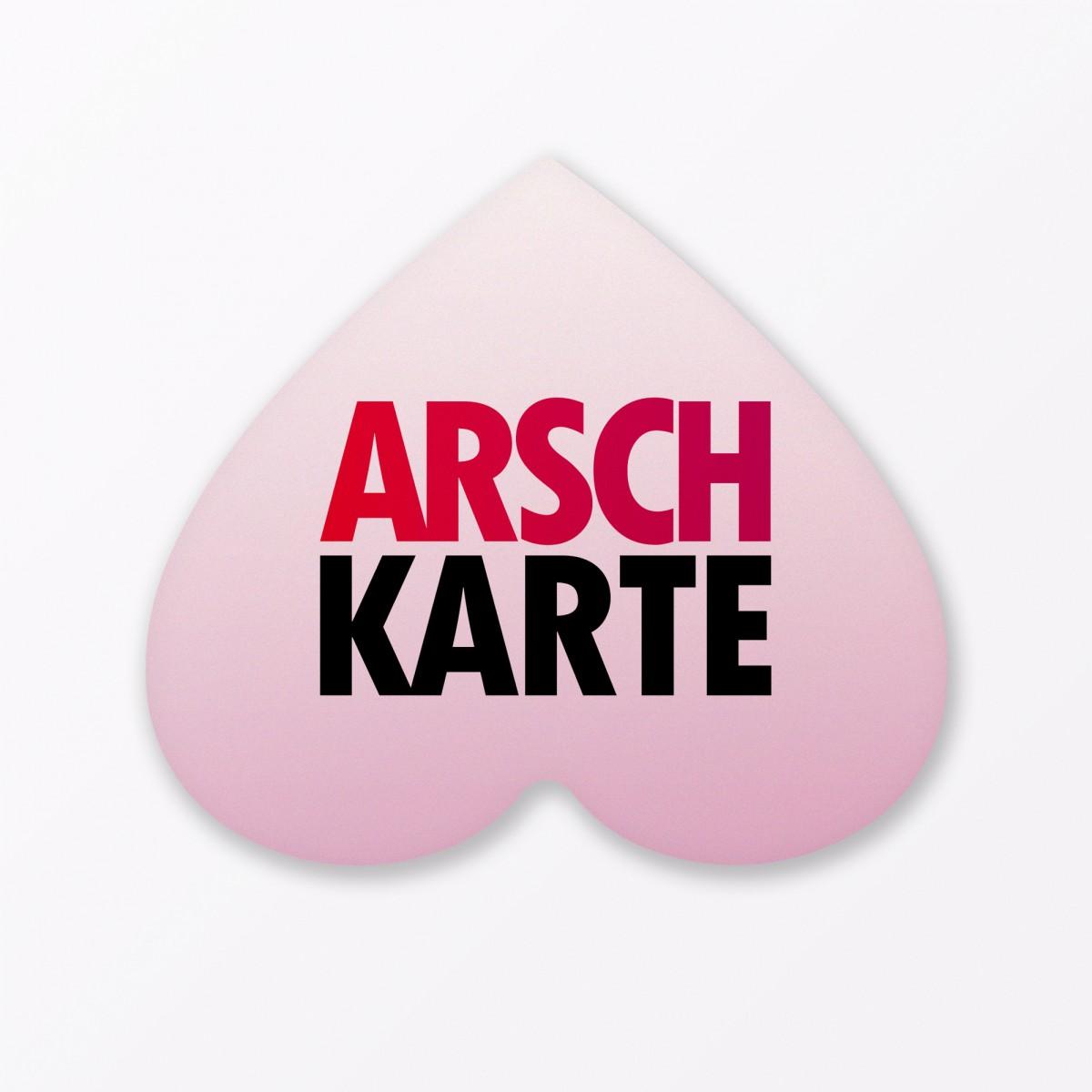 """TYPOP 2-teiliges Set Design GRUSSKARTE """"Arschkarte Frei"""" in Herzform inkl. Umschlag"""