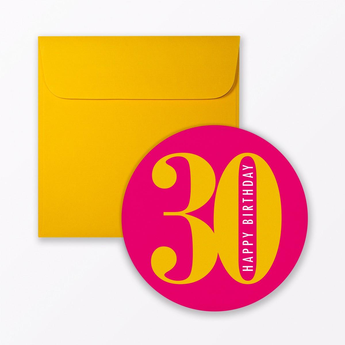 """TYPOP Geburtstagskarte """"Runder Geburtstag 30"""" rund inkl. Umschlag"""