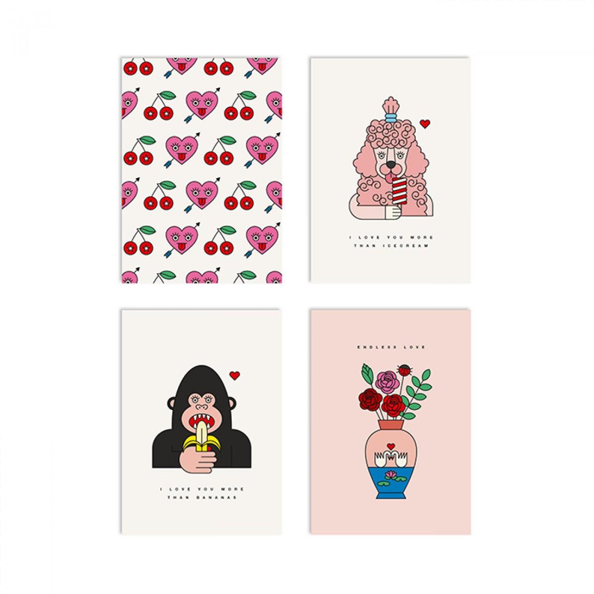 redfries set love confessions – Set mit 4 Klappkarten DIN A6 mit Umschlag