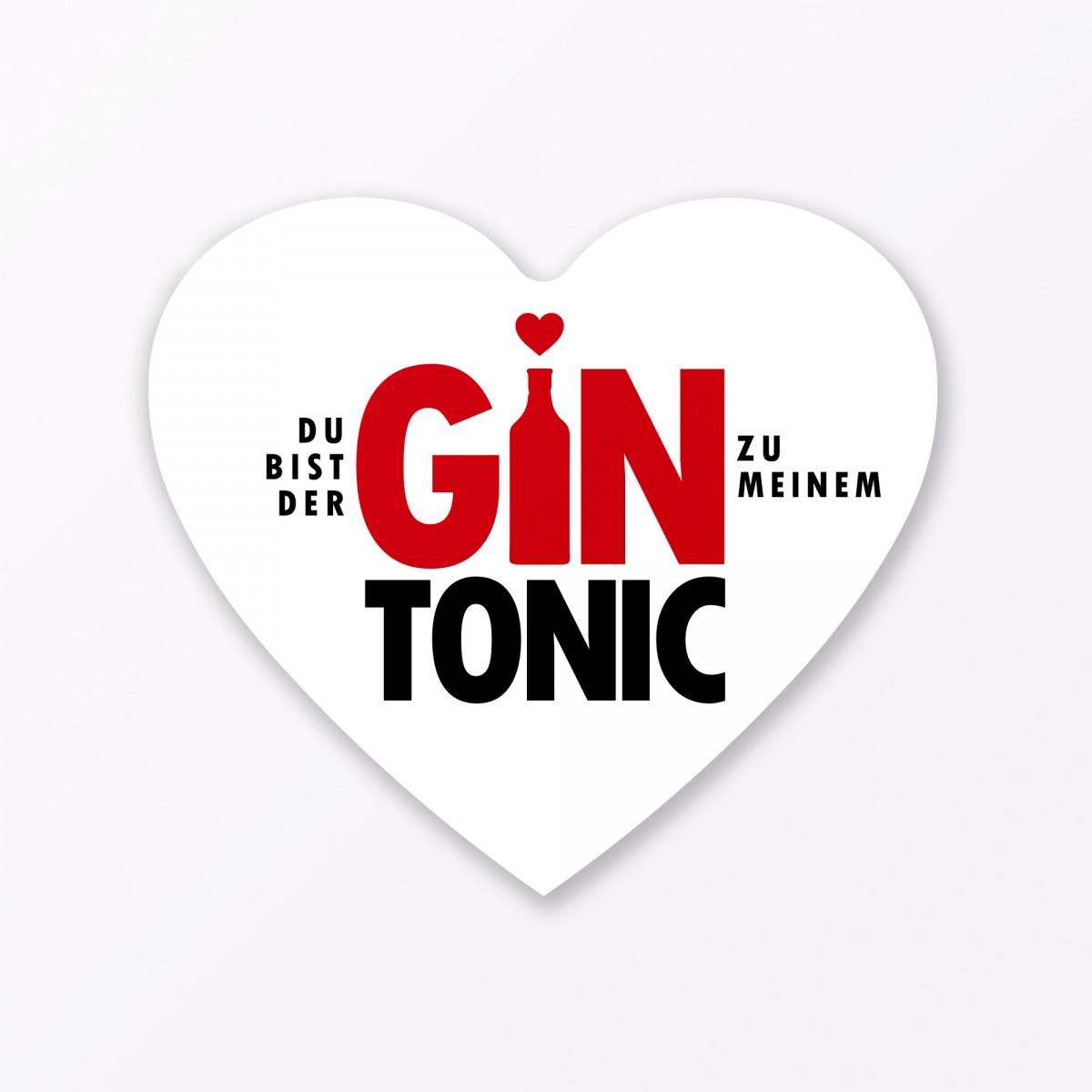 "TYPOP 3-teiliges Set Design GRUSSKARTE ""Gin Tonic"" in Herzform inkl. Umschlag + Little Breaks Gin"