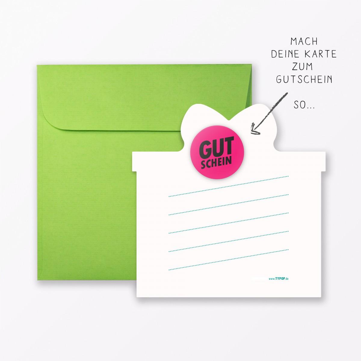 """TYPOP 4-teiliges Set Design GEBURTSTAGSKARTE """"Häppi Börsdäj"""" Grün in Geschenkform inkl. Umschlag + 2 Sticker"""