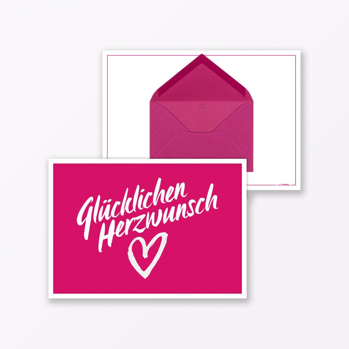 """TYPOP Design GLÜCKWUNSCHKARTE 3-teiliges Set """"Glücklichen Herzwunsch"""" in Pink inkl. Umschlag"""