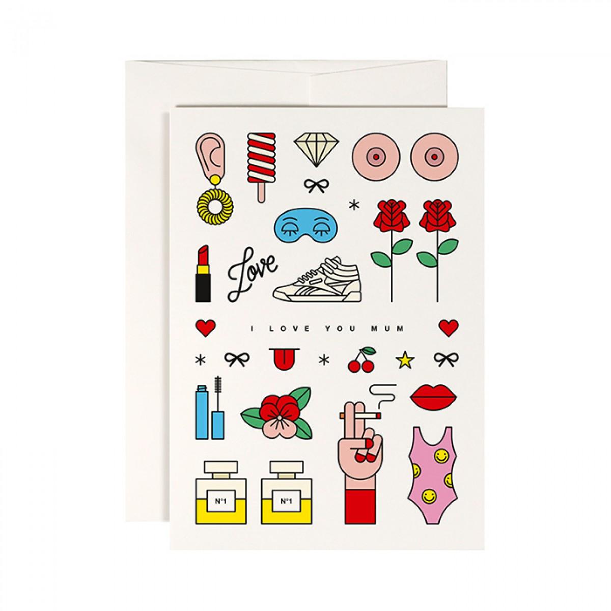 redfries cool mum –Klappkarte DIN A6 mit Umschlag Muttertag