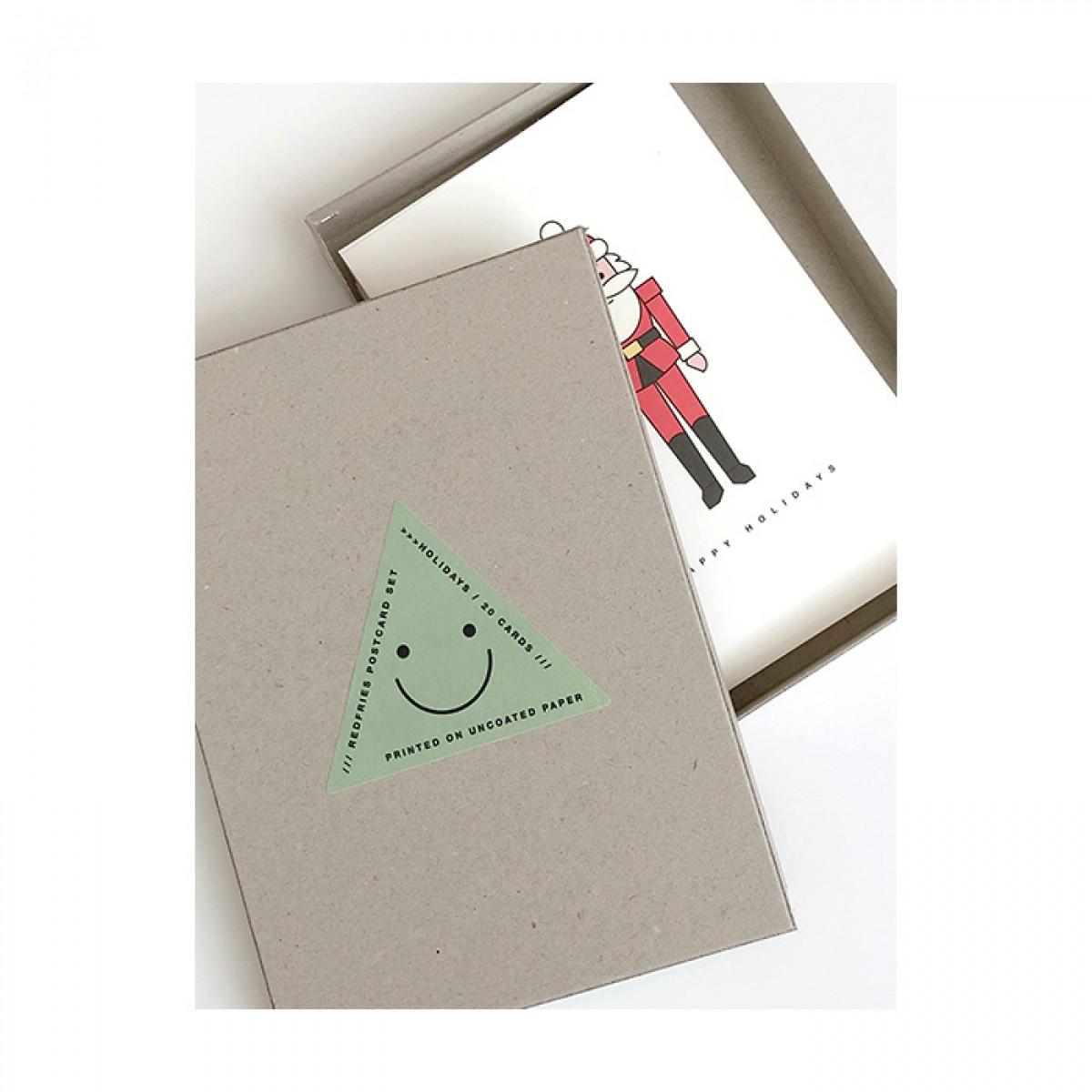 redfries set holidays – 20 Postkarten DIN A6 in der Geschenkbox