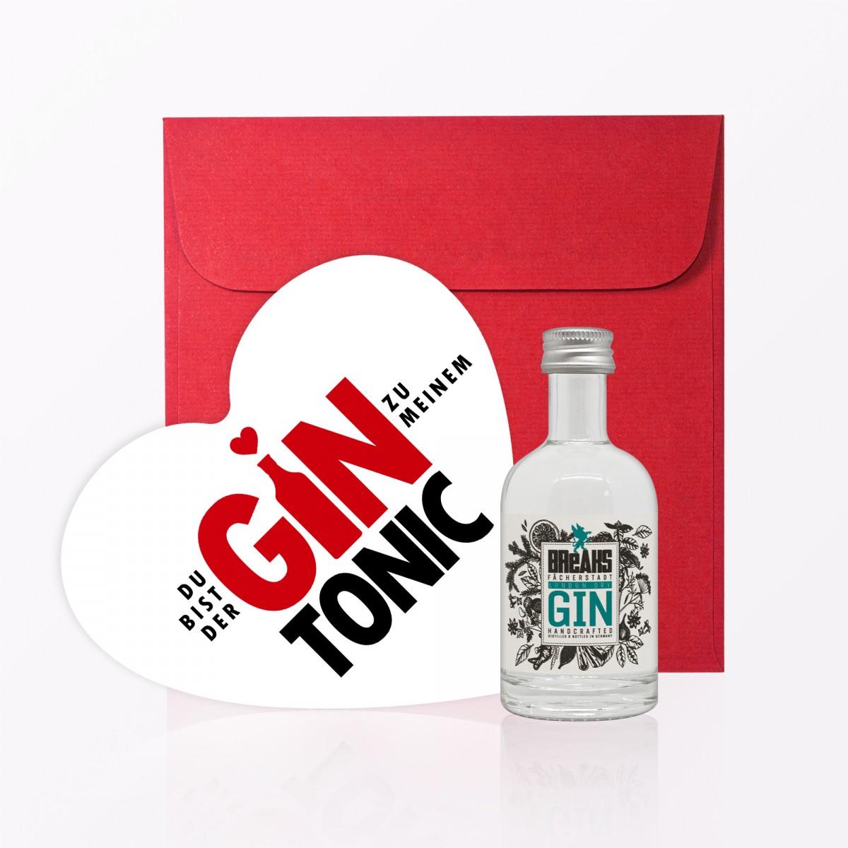 """TYPOP Set """"Gin Tonic"""" // Postkarte in Herzform inkl. Umschlag + Little Breaks Gin"""