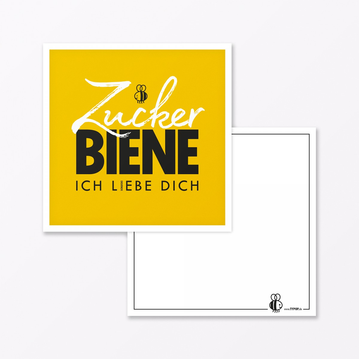 """TYPOP 2-teiliges Set Design GRUSSKARTE """"Zuckerbiene"""" Gelb quadratisch inkl. Umschlag"""
