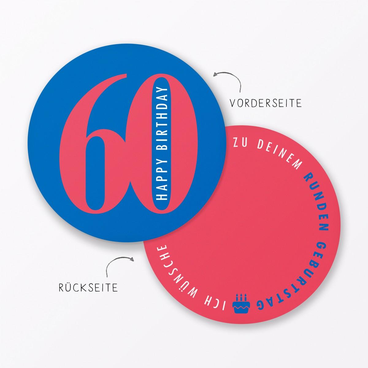 """TYPOP 2-teiliges Set Design GEBURTSTAGSKARTE """"Runder Geburtstag 60"""" rund inkl. Umschlag"""