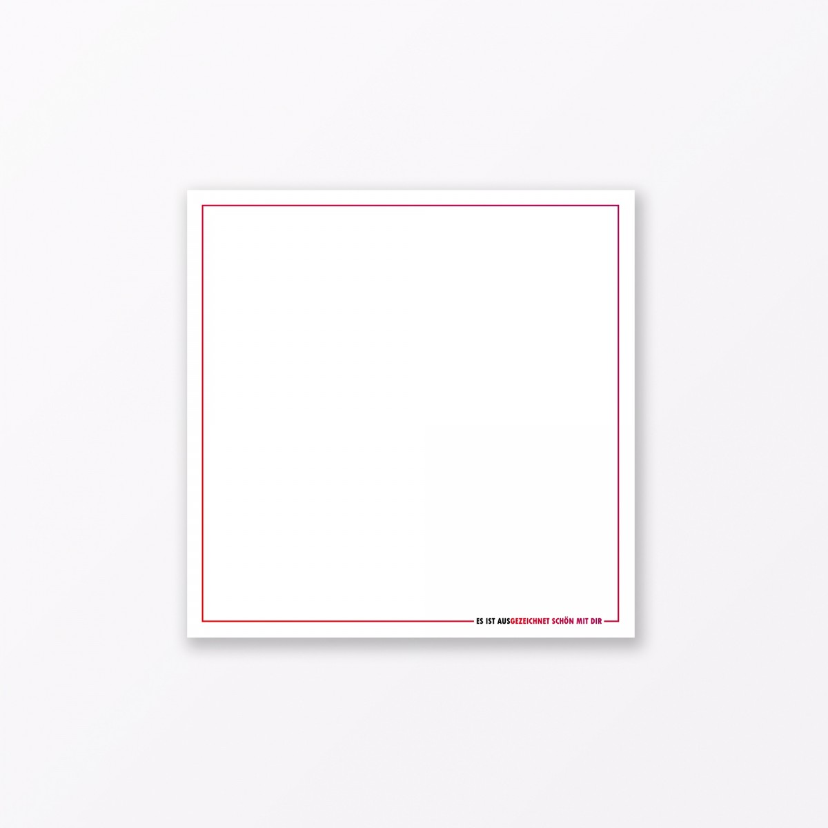 """TYPOP 2-teiliges Set Design GRUSSKARTE """"Es ist aus"""" quadratisch inkl. Umschlag"""