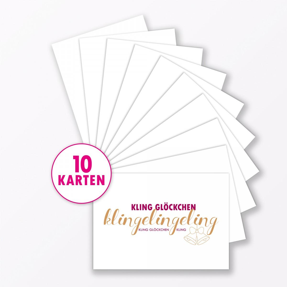 "TYPOP Postkarte ""Kling Glöckchen Klingelingeling"" DIN A6"