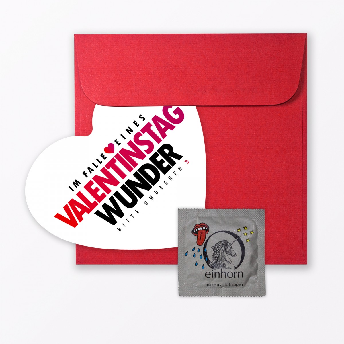 """TYPOP Valentinstagskarte """"Wunder von Valentinstag"""" // Herzkarte inkl. Umschlag & Kondom"""