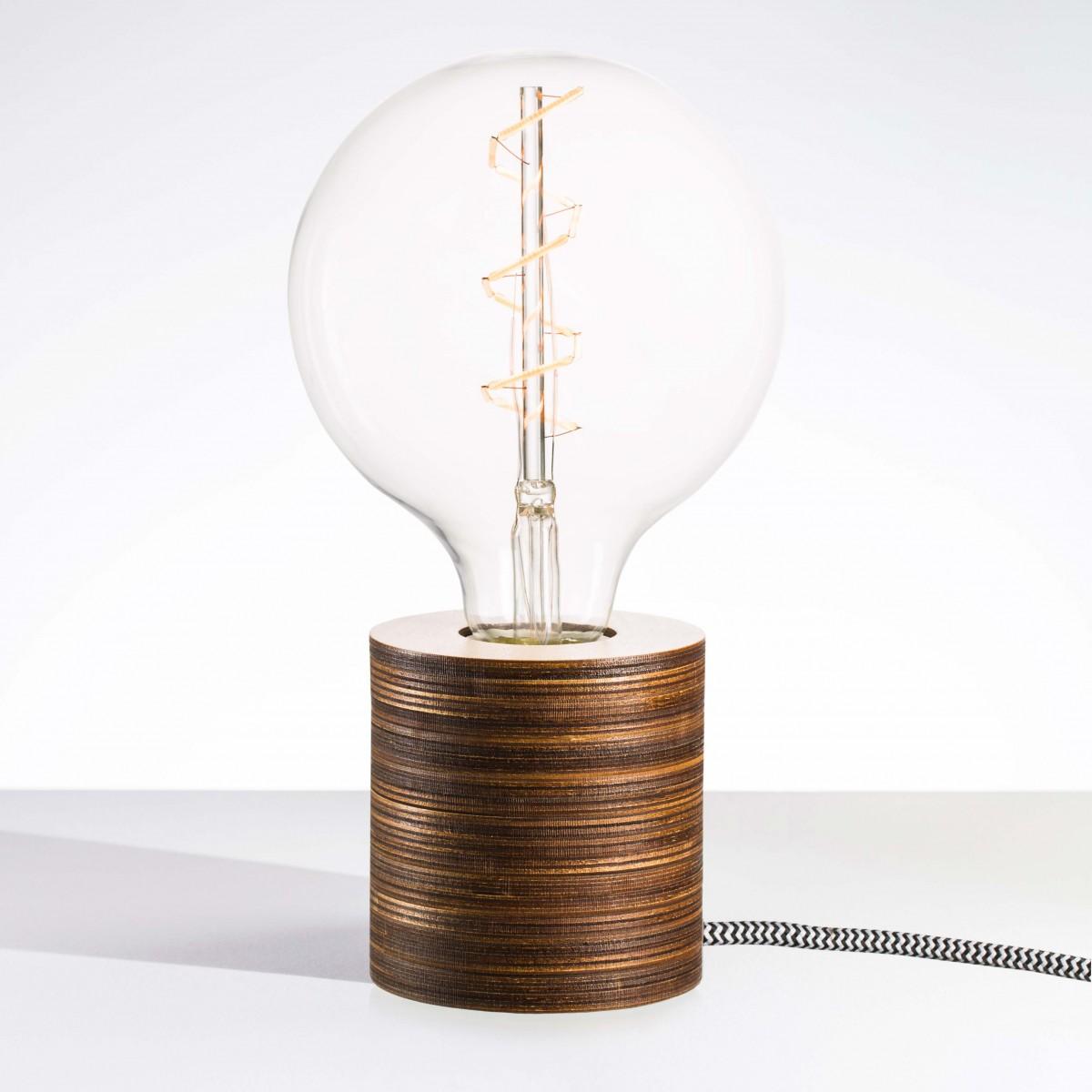"""Lichtliebe Tischleuchte """"Fafoo"""" in dunkelbraun und schwarz-weiß, inkl Retro LED im Edison Style mit nur 1,5 Watt"""