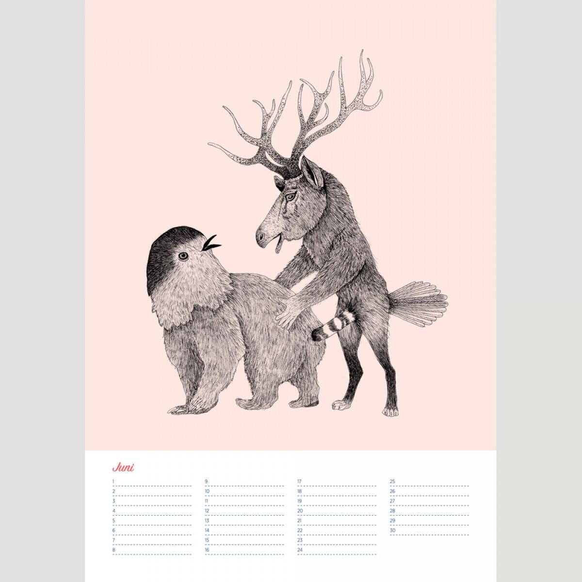 Das Liebesspiel der Wolpertinger Geburtstagskalender A3