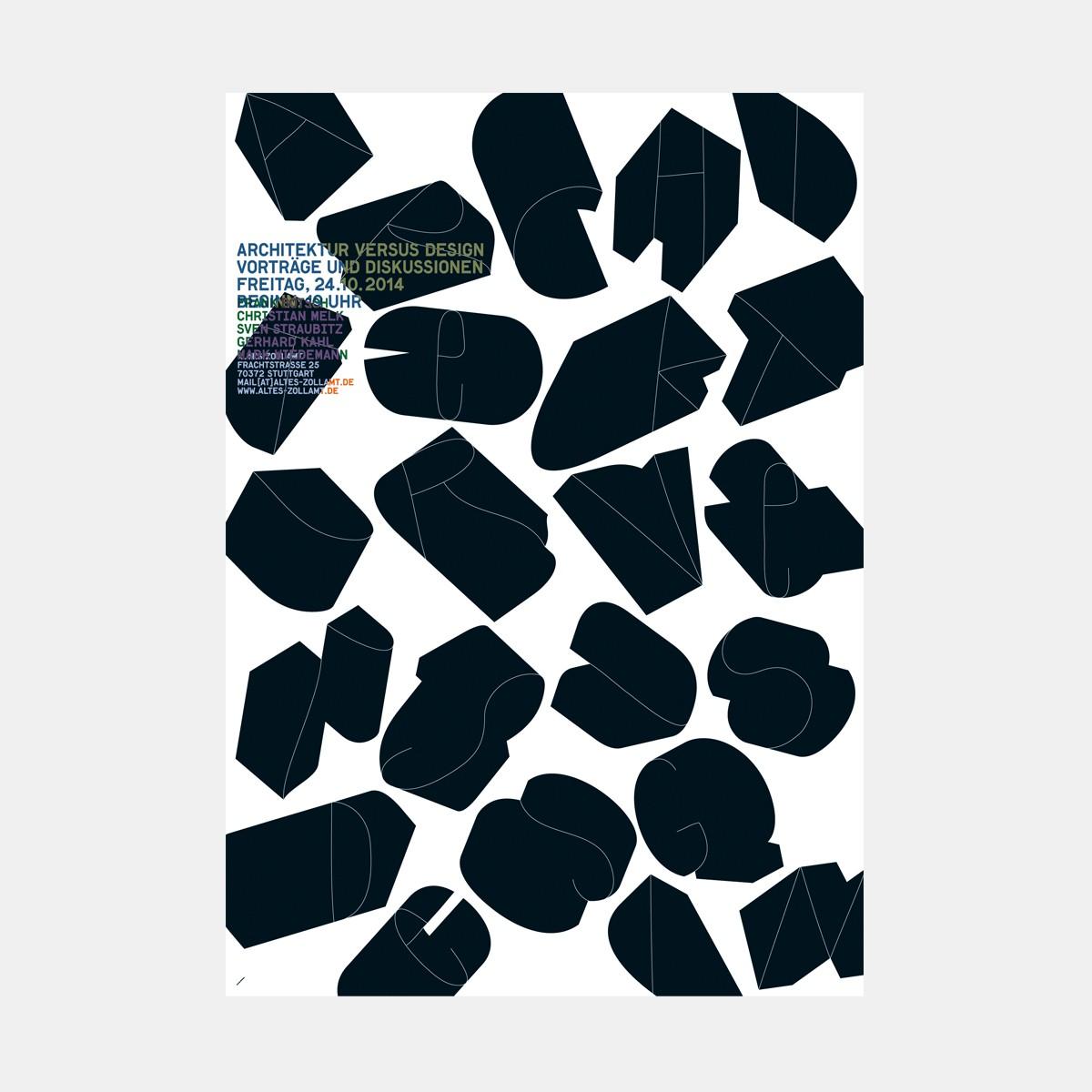 "hinzkunst Plakat ""Architektur versus Design"" DIN A1"