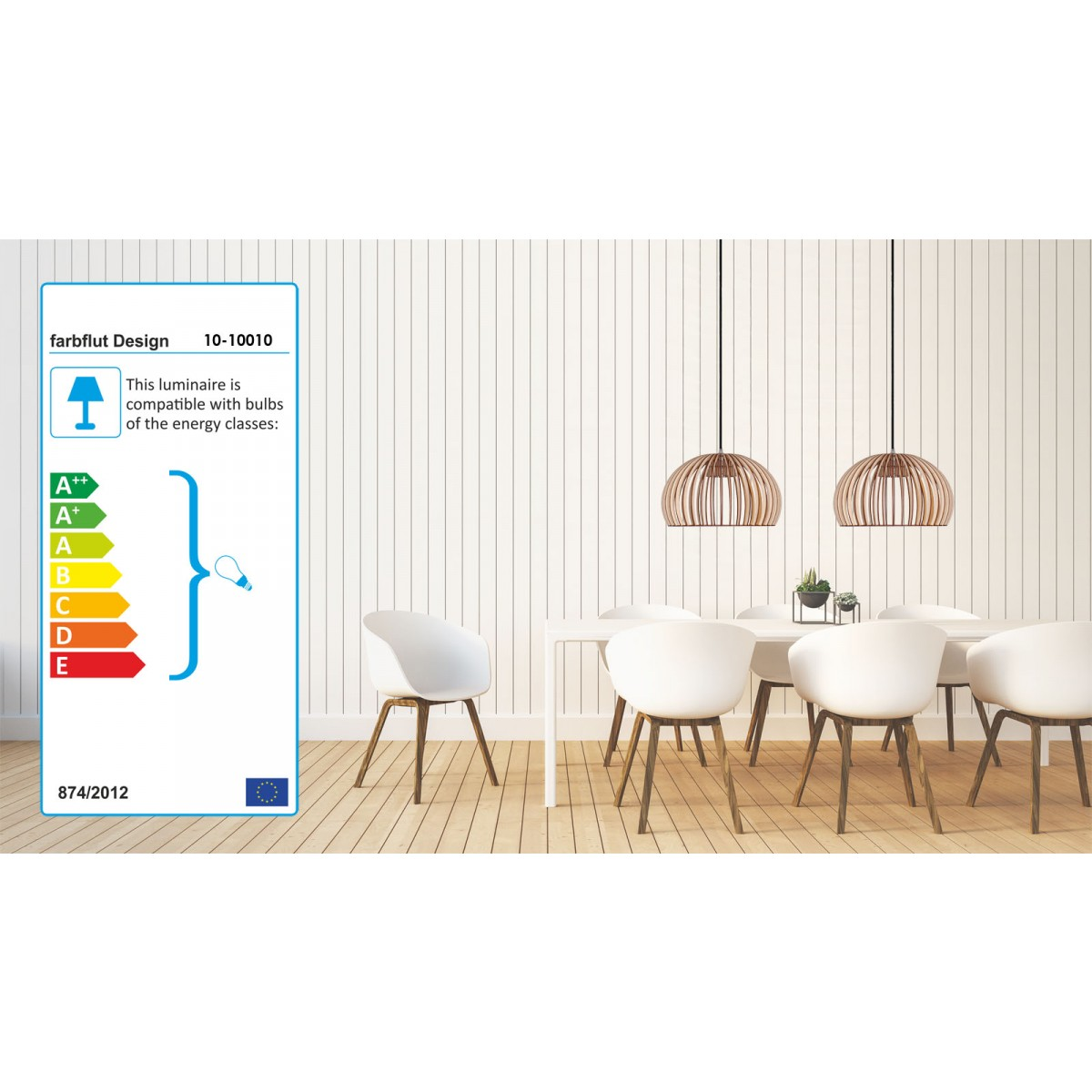farbflut Design Pendelleuchte HUEVO aus Birkenholz