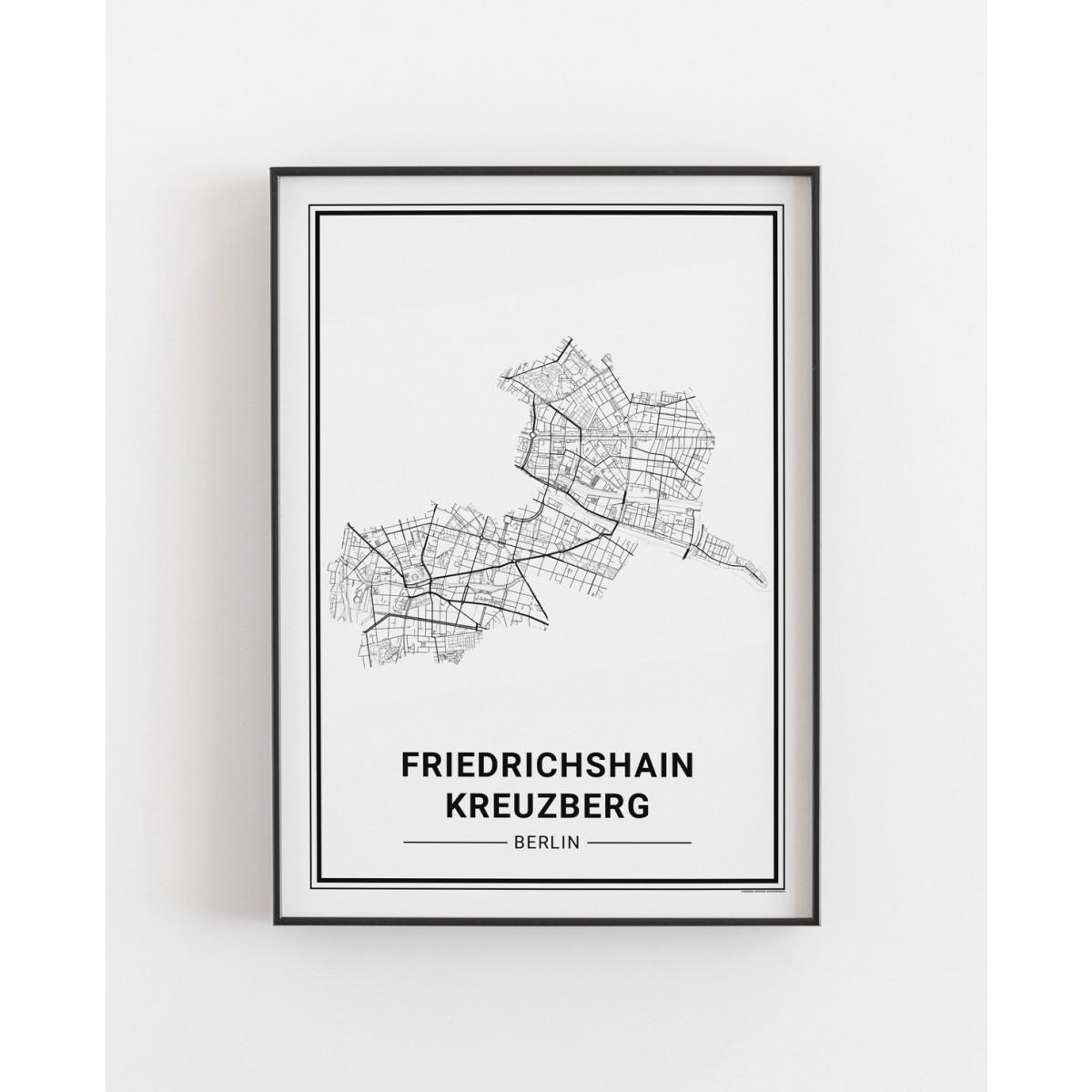 BERLIN Friedrichshain Kreuzberg Poster Stadtplan