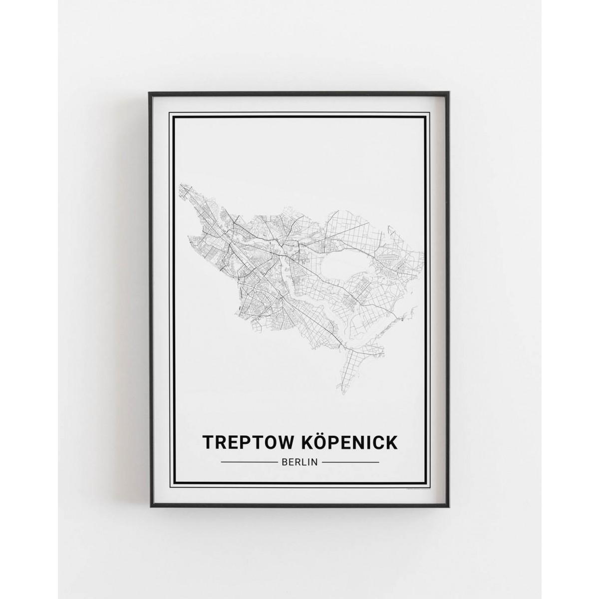 BERLIN Treptow Köpenick Poster Stadtplan