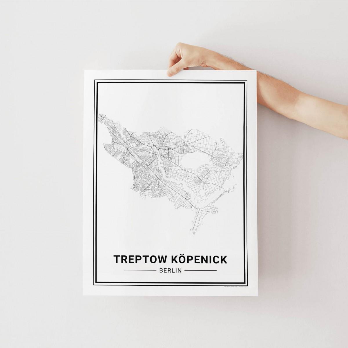 BERLIN Treptow Köpenick Poster Stadtplan von Skanemarie