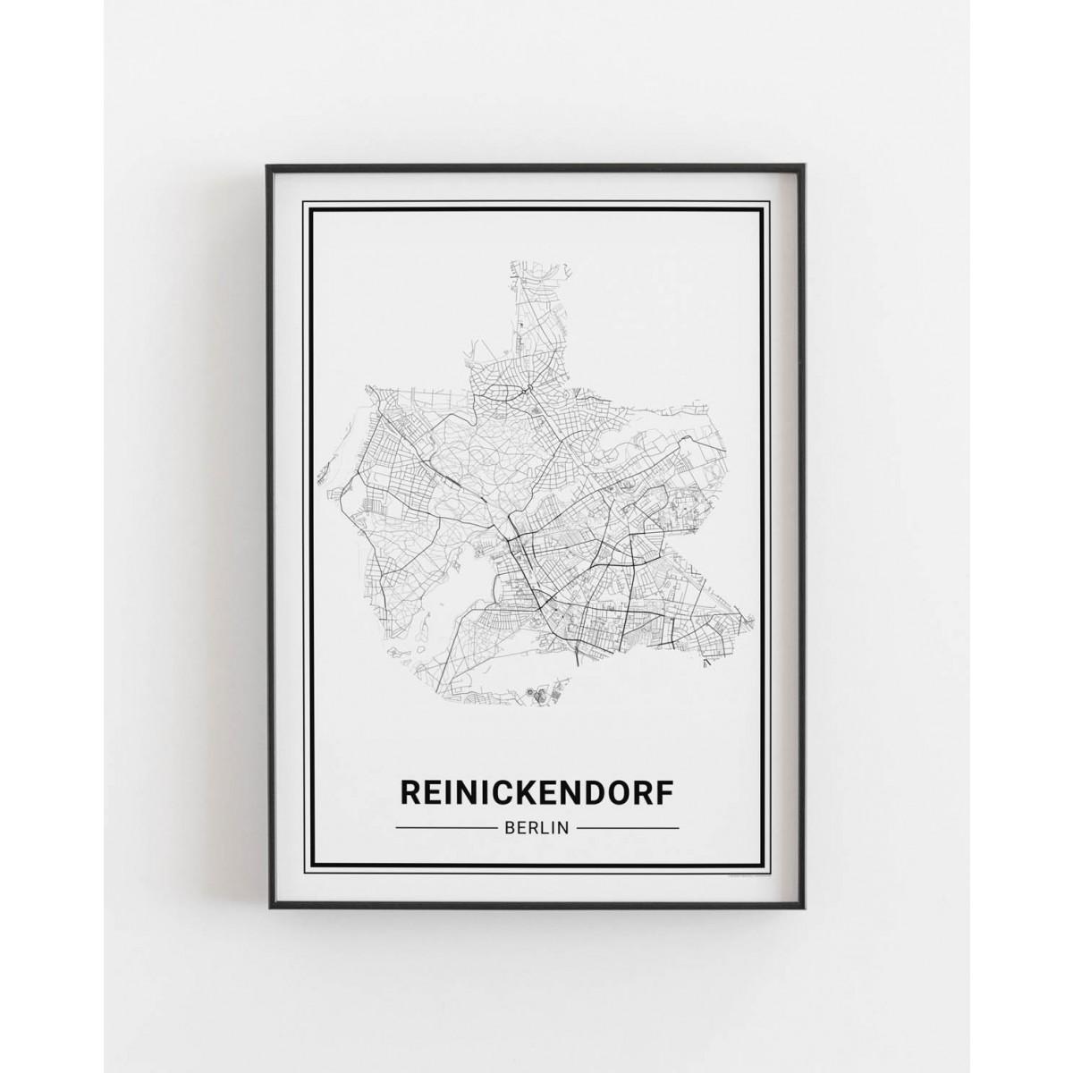 BERLIN Reinickendorf Poster Stadtplan