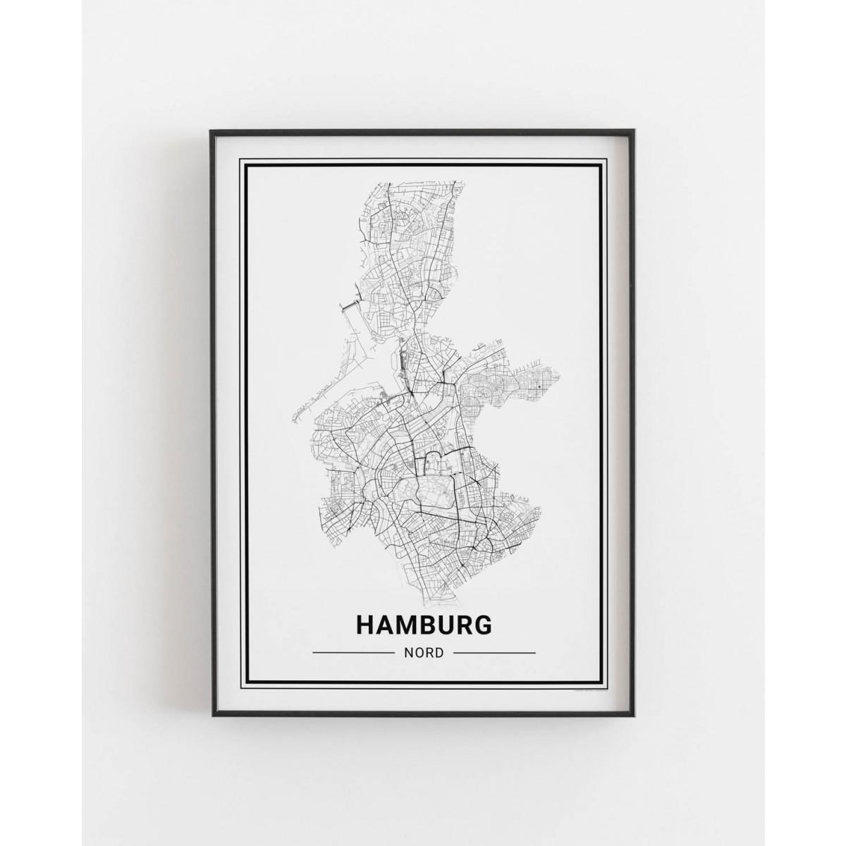 HAMBURG Nord Poster Stadtplan