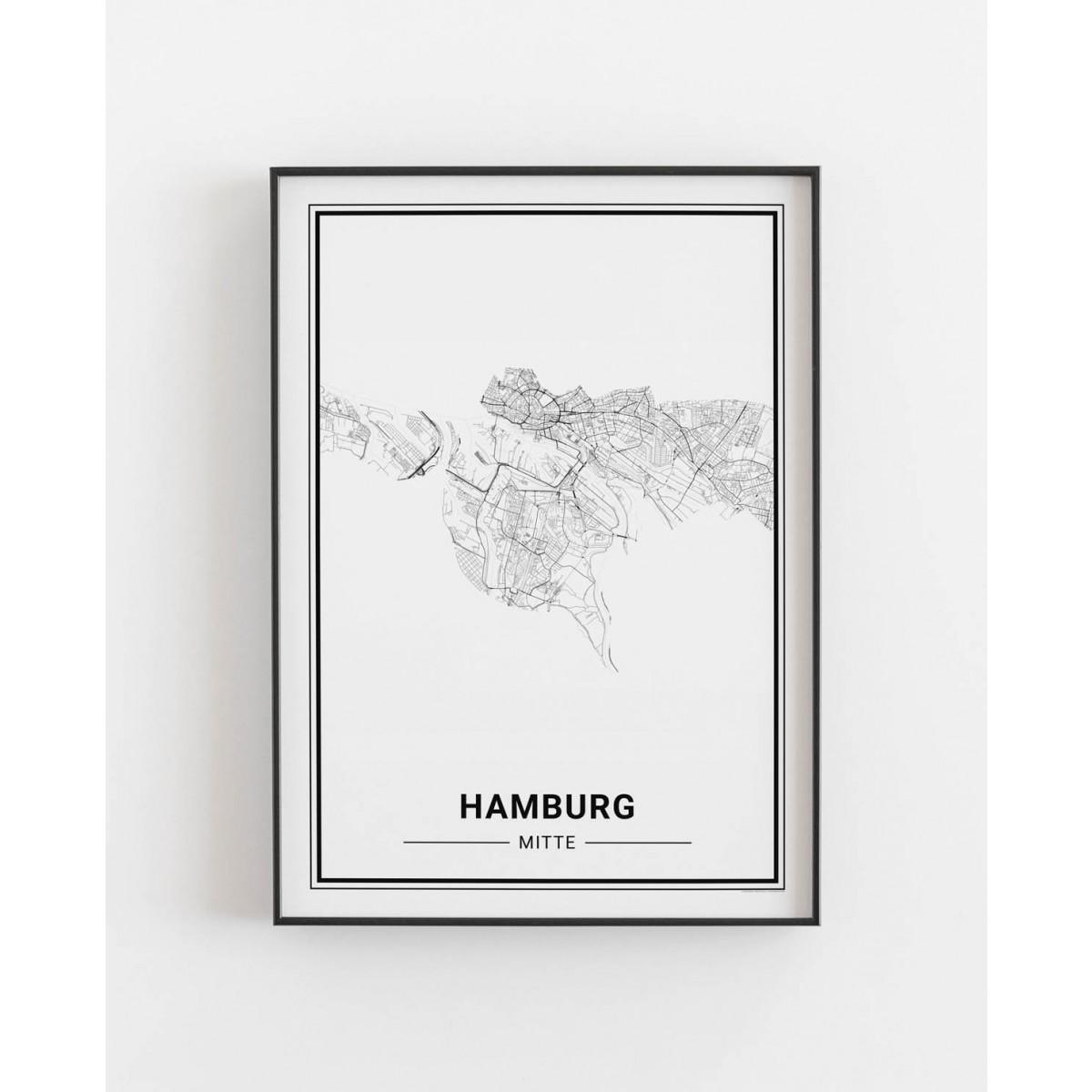 HAMBURG Mitte Poster Stadtplan